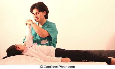physiothérapie, main, enfants