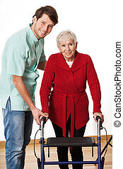 physiotherapeut, und, ältere frau