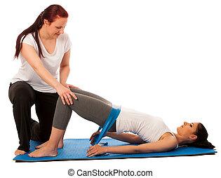physiotherapie, -, therapeut, machen, excercises, mit, band, für, verbessern, zurück, strenght, und, stabilität, mit, a, patient, zu, wiederfinden, nach, verletzung, freigestellt
