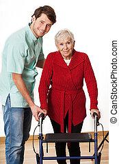 physiotherapist, és, öregedő woman