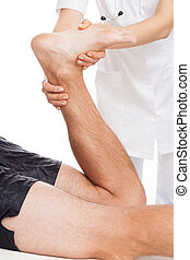 Physiotherapist and patient