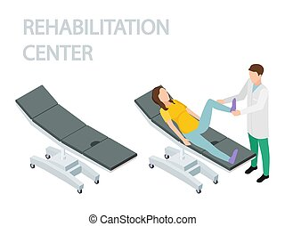 Physiotherapist and rehabilitation patient. Empty couch and couch with a patient isometric vector
