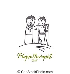 Physiotherapist concept. Hand drawn physiotherapist working with patient in clinic. Patient on crutches and doctor isolated vector illustration.