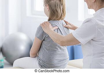 physiotherapist, cselekedet, masszázs, fordíts, leány