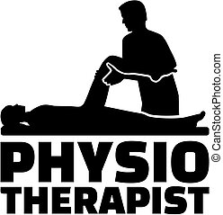 Physiotherapist job title with silhouette