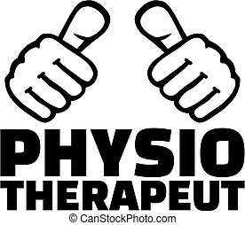 Physiotherapist with thumbs. German T-Shirt design.