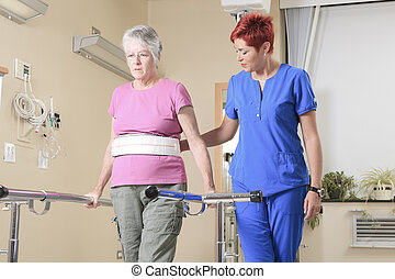 physiotherapists, hospital, dama, anciano, ella