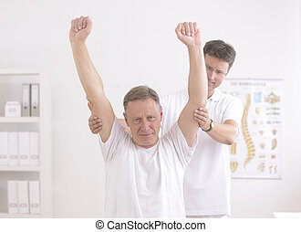 physiotherapy:, 年長 人, 物理療法家