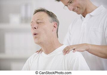 physiotherapy:, 患者, マッサージ, 物理療法家