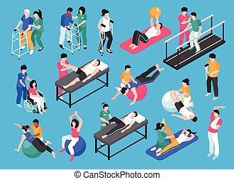 Physiotherapy Isometric Icon Set - Isometric physiotherapy...