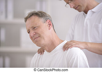 physiotherapy:,  patient, masser, kinésithérapeute