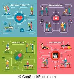 Physiotherapy rehabilitation 2x2 flat design concept set of orthopedic exercises medical diagnostics geriatric and palliative care icons vector illustration