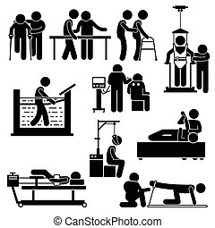 A set of human pictogram representing physiotherapy treatment for patient by the help of physiotherapy. These treatments include hydro, electro, traction, and massage. All essential equipment, machines, and tools are available too.