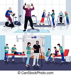 Physiotherapy Rehabilitation Center 2 Flat Banners