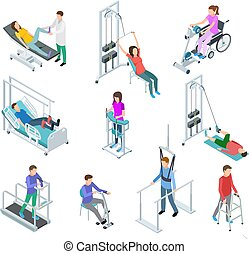 Physiotherapy rehabilitation equipment. Patients and nursing staff in rehabilitation centre clinic. Isometric vector set
