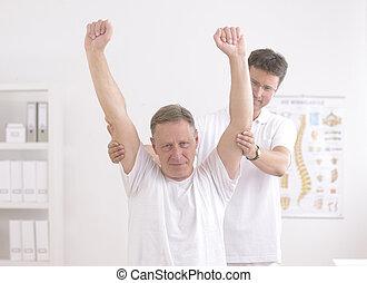 physiotherapy:, senior mand, og, fysioterapeut