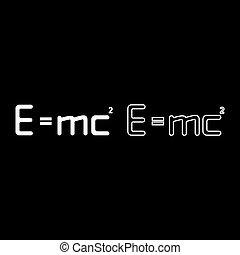 physique, 2, couleur, vecteur, e, image, relativité, illustration, formule, concept, égal, énergie, droit & loi, ensemble, education, signe, blanc, théorie, mc, e=mc, carré, style, icône, contour, plat