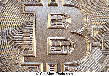 physique, crypto, comestible, brillant, bitcoin, chocolate., soulagement, image, monnaie, fin, résumé, haut, surface, formulaire, fait, coup