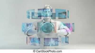 physique, virtuel, mélange, interface, mélangé, futuriste, ...