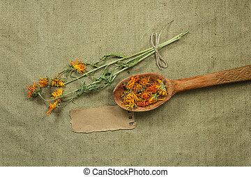 phytotherapy, herbs., orvosság, calendula., füvészkönyv, gyógyító, aszalt