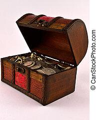 pièces, 3, poitrine trésor, argent