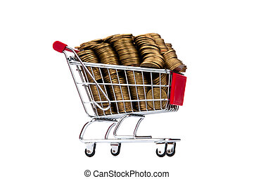 pièces, achats, or, charrette