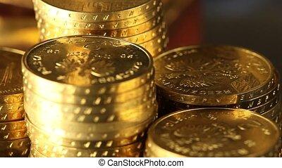 pièces, argent, concept, or