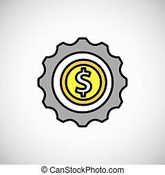 pièces, argent, croissance, icône