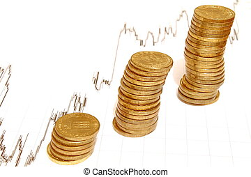pièces, argent, pile
