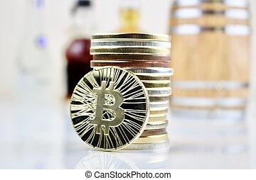 pièces, bitcoin, physique
