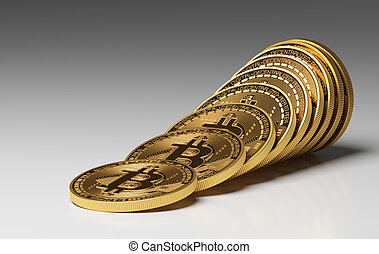 pièces, bitcoins, virtuel