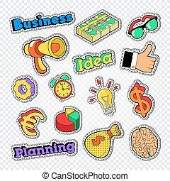 pièces, business, set., idée, illustration, vecteur, elements., autocollants, insignes, finance