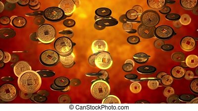 pièces, chinois, doré, 4k, boucle, rendre, nouveau, seamless, fond, année, texture., 3d