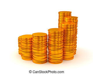 pièces, croissance, piles, profit: