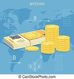 pièces, crypto, bitcoin