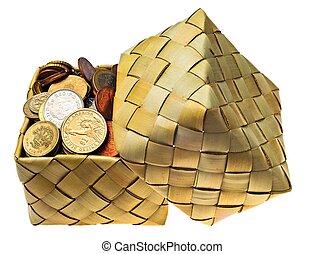 pièces, de, les, différent, pays, est, dans, a, wattled, boîte