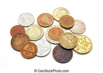 pièces, de, les, divers, pays