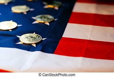 pièces, drapeau, bitcoin, or, nous