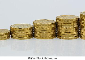 pièces, empilé, uptrend