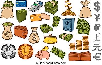 pièces, ensemble, sûr, or, icônes, (credit, banque argent, terminal, wallet), cuir, carte, brique, empilé, sac, porcin