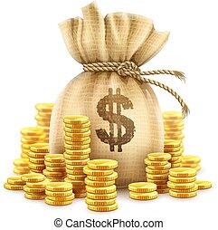 pièces., entiers, illustration., or, argent, espèces, sac, vecteur