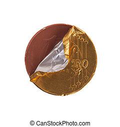 pièces, euro devise, chocolat