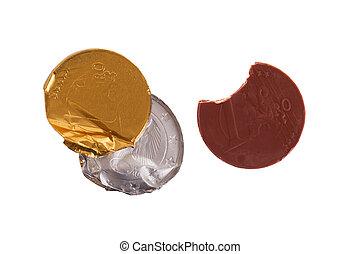 pièces, isolé, monnaie, chocolat, blanc, euro
