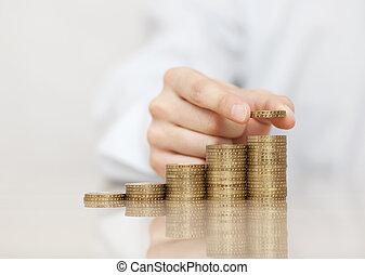 pièces, levée, pile