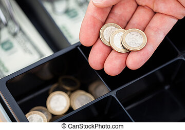 pièces, main, euro
