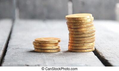 pièces, mettre, pile, or, main