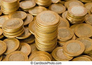 pièces, mexicain, dix, fond, pesos