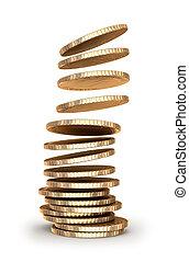 pièces or, baisser dans, tas