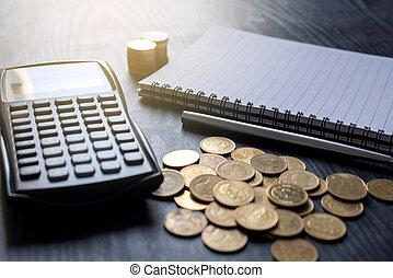 pièces, or, cahier, calculatrice, fin, conception, e-commerce, haut, business, finance, concept, table., stylo, commercialisation, noir