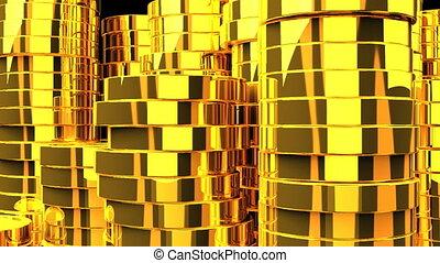 pièces or, fond, noir
